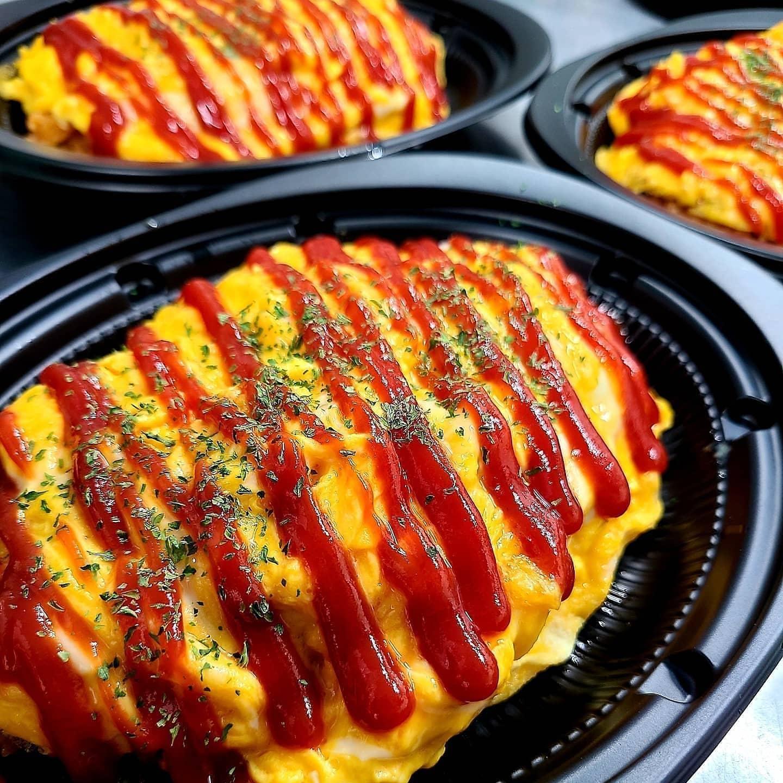 ◎今日のお弁当  ・オムライス ・高菜明太チャーハン ・ホワイトカレーライス ・唐揚げ弁当
